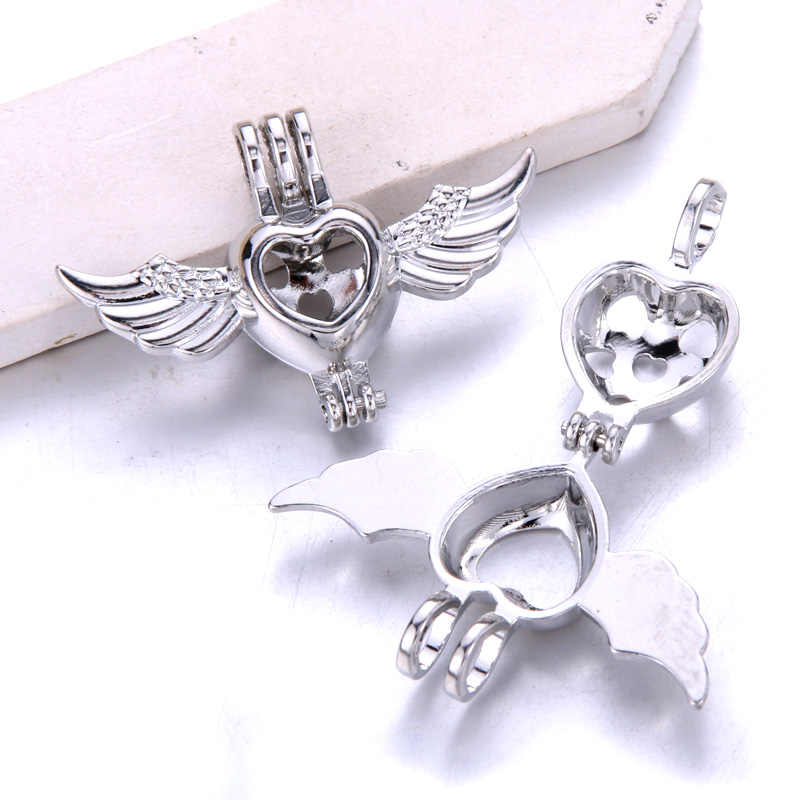 6pcs Silver Heart wings สร้อยคอสร้อยข้อมือเครื่องประดับ Pearl Cage จี้น้ำหอม Diffuser เครื่องประดับสำหรับ Oyster Pearl
