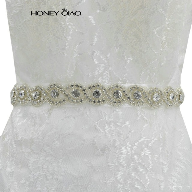 Honey Qiao Sparkly Luxurious Crystal Rhineston Bridal Sashes for Wedding Dresses 2017 Cinturones de novia con Cristales Belts
