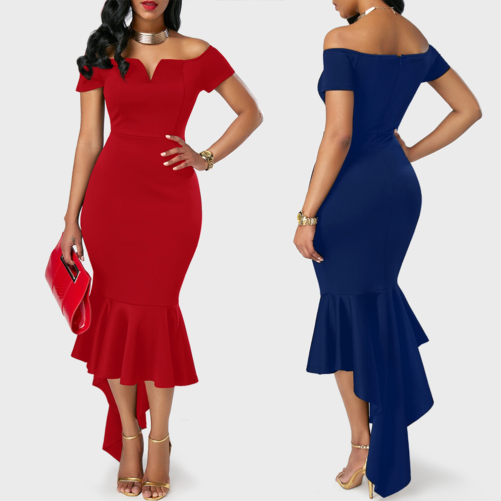 2017 new style vestidos  Irregular strapless long dresses dinner dresses Fashion Off-The-Shoulder Dress ladies Sexy Party Dress