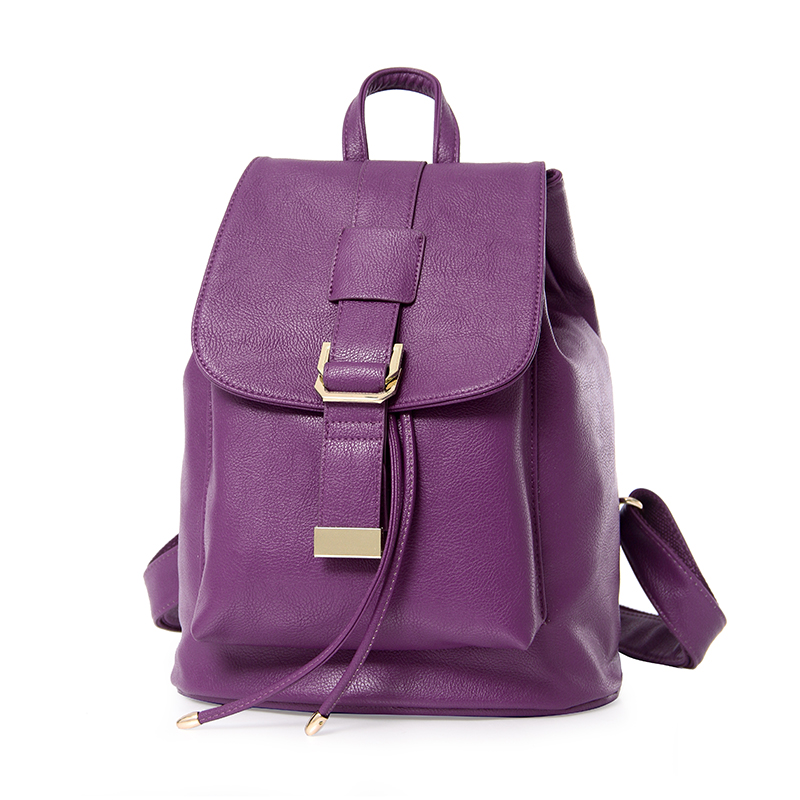 ФОТО 2017 Hot Sale High Quality Women PU Leather Ladies Backpack Schoobag College Wind Women Backpack Mochilas Feminina STA811 Purple