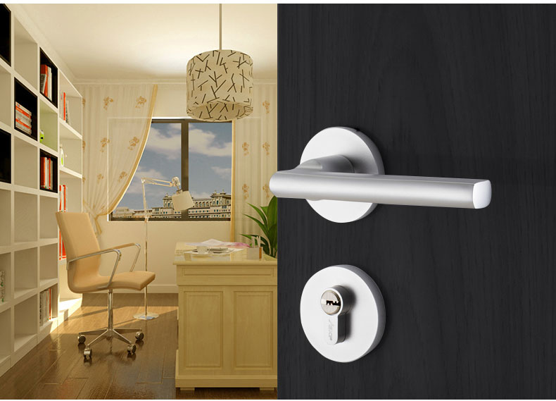 EKF-06-058 European simple solid wood door lock magnetic mute door lock handle all metal door with key Universal 35-45MM