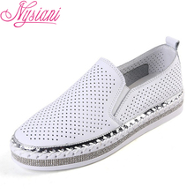 2019 Summer Hollow Out Split leather Women Flat Platform Loafer Shoes Slip-on Round Toe Casual Students White Shoes Nysiani все цены