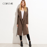 COLROVIE Brown Layered Waterfall Belted Elegant Winter Suede Long Trench Coat Women Clothes 2018 Autumn Wrap Outerwear & Coats