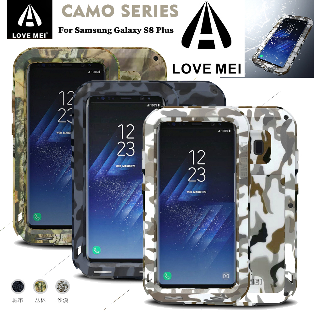 LOVE MEI CAMO Metal Armor Case For Samsung Galaxy S8 Plus Shockproof Water resistant for S8 Aluminum Cover Outdoor Military Use