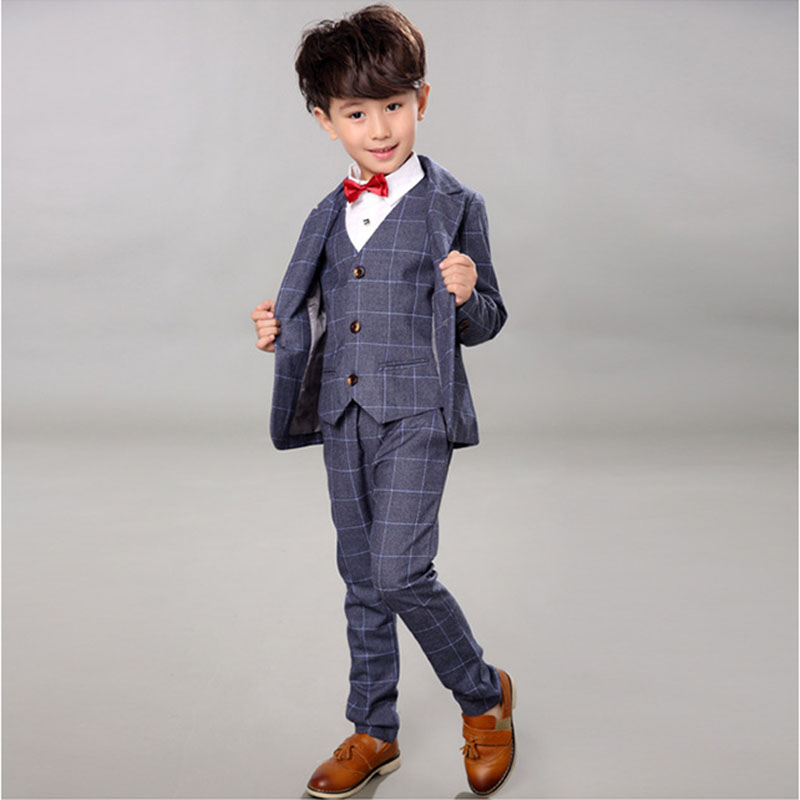 New Children Gentleman Clothing Sets Spring Autumn Baby Boys Formal Plaid Suit 4 Pcs Wedding Formal Clothes Set 2 4 6 8 10 Y 6