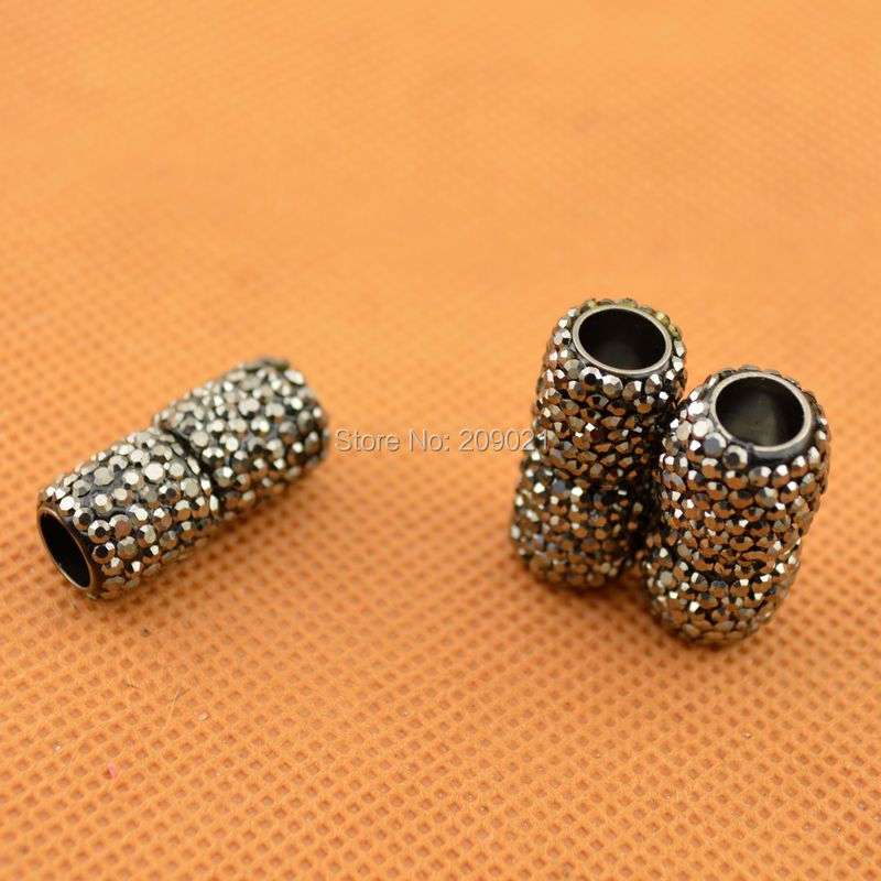 Wholesale DIY Pave Rhinestone Crystal Magnetic Clasp For Round Leather 6mm Hole Jewelry Making 15pcs lot
