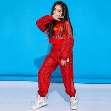 Модный костюм для джазовых танцев; Одежда для девочек с блестками в стиле хип-хоп; одежда для выступлений в уличном стиле; детская одежда для занятий танцами; DC1924