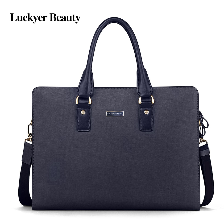 LUCKYER BEAUTY Brand Designer Brown Male Laptop Document Briefcase Leather Attache Portfolio Men Business Tablet Bags Maleta LUCKYER BEAUTY Brand Designer Brown Male Laptop Document Briefcase Leather Attache Portfolio Men Business Tablet Bags Maleta