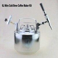 6L Nitro холодной варить Кофе чайник комплект, нержавеющая сталь 304 мини бочонок, коснитесь Homebrew Кофе NitroBrew комплект