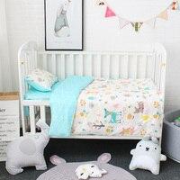 3Pcs Baby Bedding Set Pure Cotton Cartoon Pattern Crib Bed Linen Kit Include Pillowcase Flat Sheet