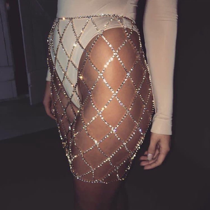 Silver Gold Shiny Rhinestones Hollow Out Mini Skirts Women Alloy Link Chains Plaid Skirts Sexy Summer Beach Skirt Party Clubwear