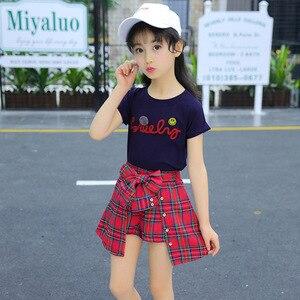 Image 5 - Ensemble fille vêtements enfants été enfants vêtements ensembles Smiley visage T Shirt + rouge grille pantalon coton filles vêtements 10 12 ans tenues