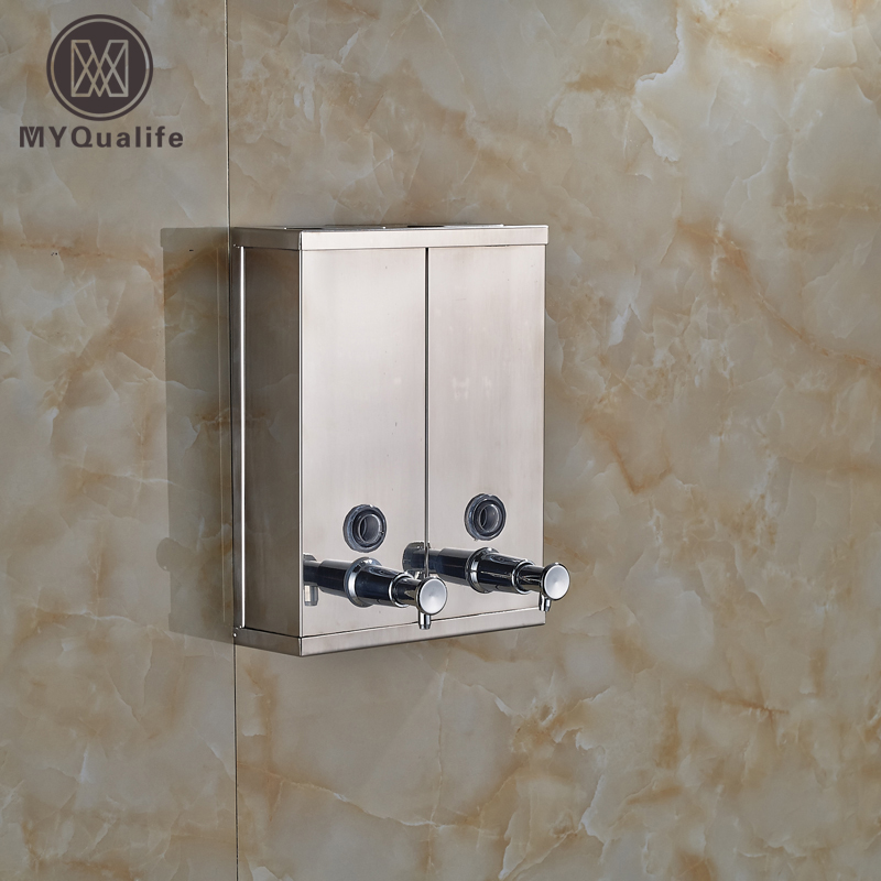 Bath Kitchen Sink Wall Mounted Stainless Steel Pump Liquid Soap Lotion Dispenser Chrome Finished