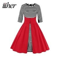 Iiiher Marca Rockabilly Vestidos Vestiods Verão Outono 50 s Retro Do Vintage Plus Size Mulheres Roupa Preta Vermelho Balanço Vestido Listrado