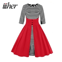 Iiiher Brand Rockabilly Vestiods Summer Autumn 50s Retro Vintage Dresses Plus Size Women Clothing Black Red