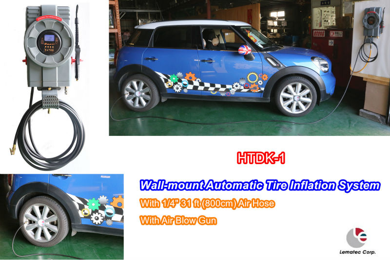 NEW Automatic Tire inflator System Wall-mount type Auto filling with blow gun