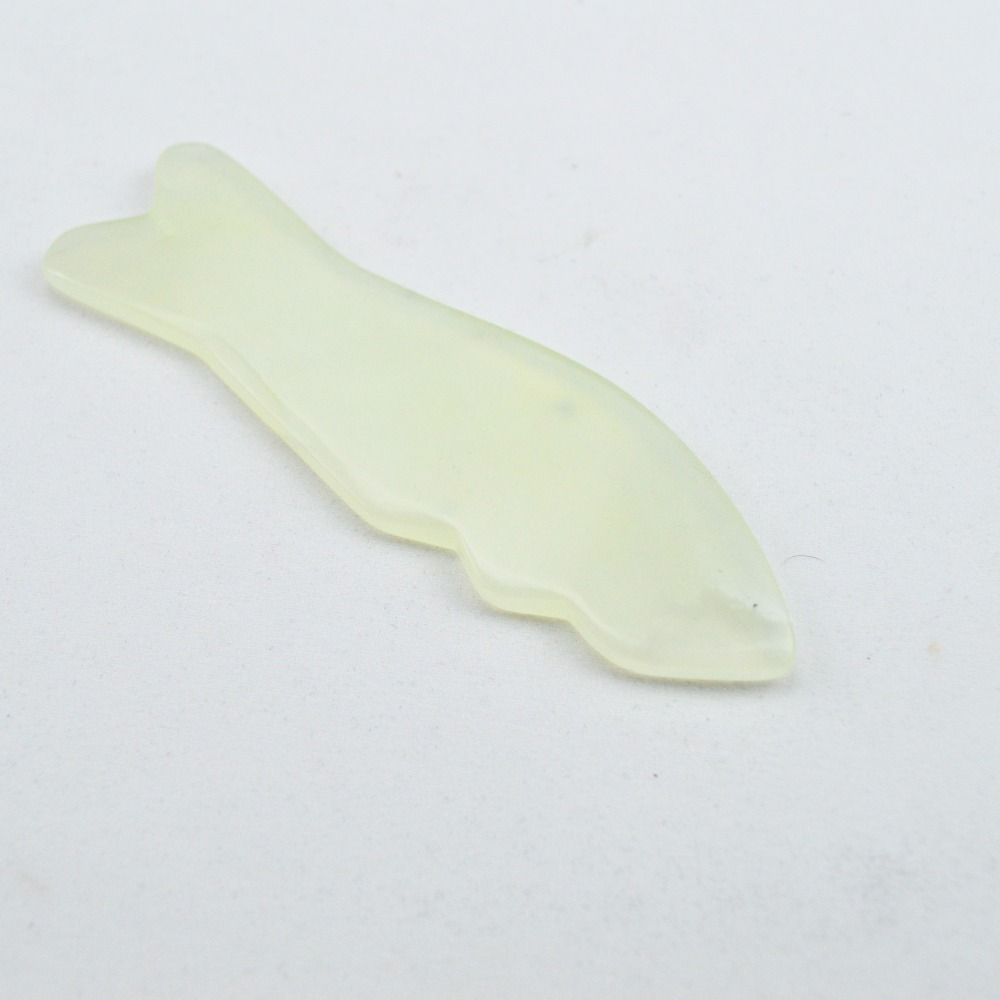 100% Natural light green jade fish shape guasha board massage tool facial treatment scraping tool for body health care
