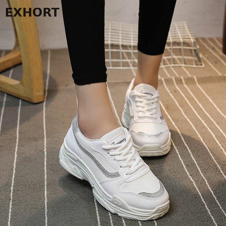 b389556824e 2018 mujeres Zapatillas de deporte blanco negro Rosa plataforma mujeres  zapatos Casual Zapatos Mujer Zapatillas Deportivas Mujer  8805