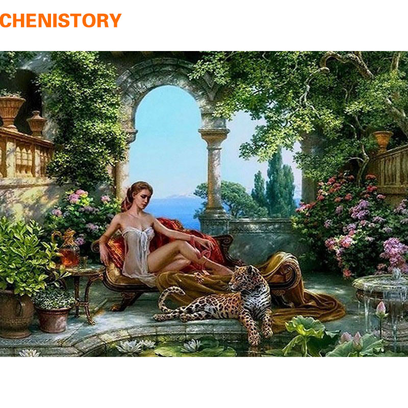 frameless tiger and sex girls DIY painting by numbers kits acrylic - Home Decor