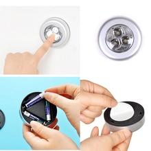 Mini Round 3 LED Push Tap Stick Convenient Touch Practical Cabinet Home Night Light Lamp Cordless Bulb 1PCS