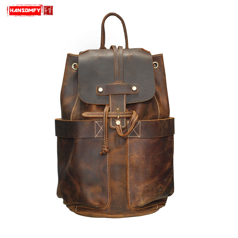Luxury fashion Men Backpacks Vintage top layer crazy horse leather Travel backpack genuine leather mens shoulder bagsLuxury fashion Men Backpacks Vintage top layer crazy horse leather Travel backpack genuine leather mens shoulder bags