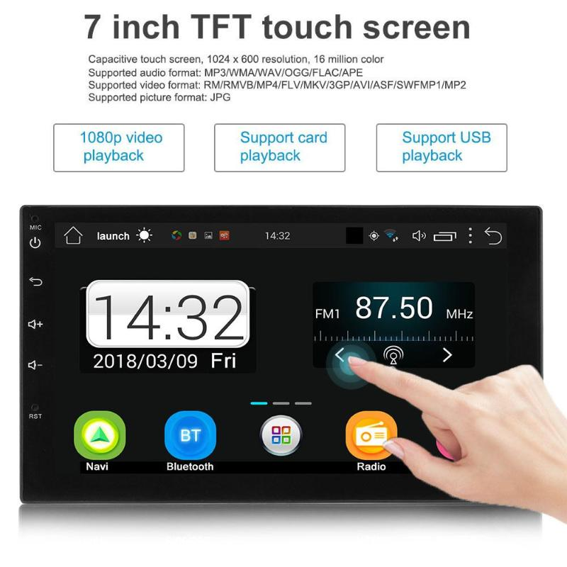 7in Touch Screen Bluetooth USB Cable Quad-core Android 7.1 Car Stereo MP5 FM Radio GPS Navigator with North America Map
