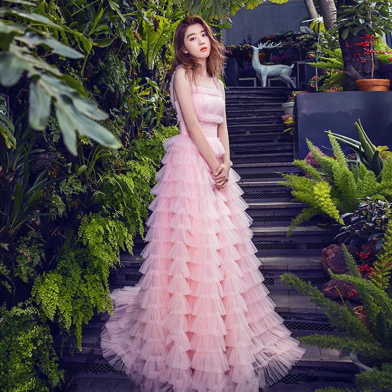 Luxe Femmes Rose Longue Robe 2018 Sexy Mignon De Courroie De Gaine robe de Bal Maille Gâteau Robe Étage Longueur Parti Robe robe de festa