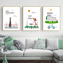 City Morning Paris Vintage Poster Cartoon Art Canvas Painting Wall Pictures For Living Room Art Print Modern Quadro Unframed the morning of city london new york vintage poster art canvas painting wall picture print modern home room decoration unframed