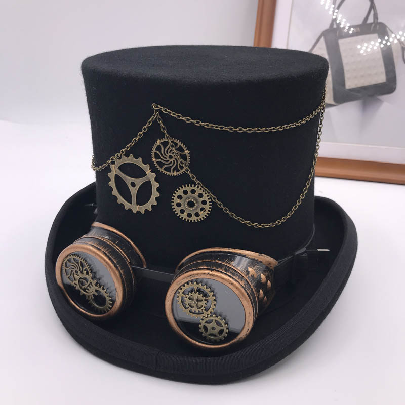 Takerlama Vintage Steampunk Gear Glasses Floral Black Top Hat Punk Style Fedora Headwear Gothic Lolita Cosplay Hat 17 Cm