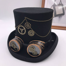 Takerlama Vintage Steampunk Gear Glasses Floral Black Top Hat Punk Style Fedora