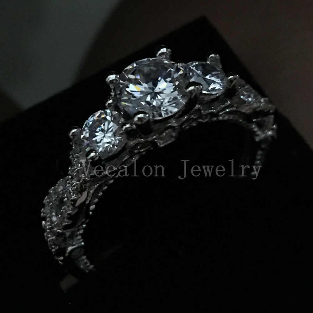 Акция 91% скидка Vecalon винтажное обручальное кольцо для женщин AAAAA Cz Кольцо из стерлингового серебра 925 пробы ювелирное женское кольцо