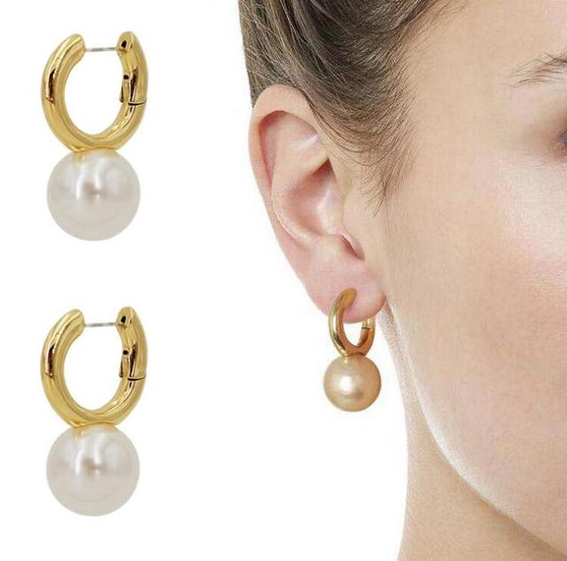Fashion hoop/huggie with pearl pendant or gold ball women earrings