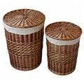 Home Storage Organisation Handarbeit Gewebt Wicker rohrkolben Wäschekorb Lagerung Körbe mit Deckel dekorative wicker körbe cesta-in Aufbewahrungskörbe aus Heim und Garten bei
