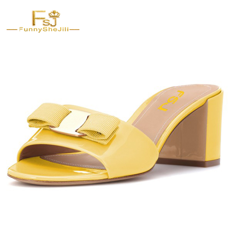 dd8883f353f Woman Shoes Patent Leather Slippers Chunky Hels 6cm Mellow Yellow Block Heel  Sandals Open Toe Mule