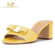 d30980e57 Sapatas da mulher Chinelos de Couro Chunky Hels 6 cm Mellow Yellow Bloco  Sandálias de Salto Do Dedo Do Pé Aberto Mula com Borbol.
