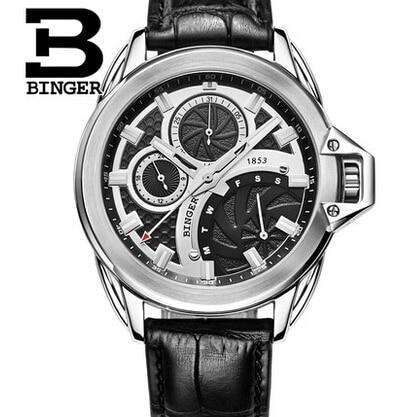 2016 New brand Binger clock male Business Real leather black vintage watch quartz men wristwatches couro