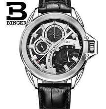 2016 Nueva marca Binger reloj masculino reloj de cuarzo hombres relojes de pulsera de Negocios de cuero Real negro de la vendimia couro relogio masculino