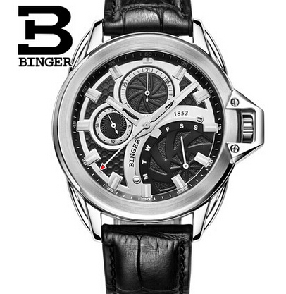 2017 New brand Binger clock male Business Real leather black vintage watch quartz men wristwatches couro