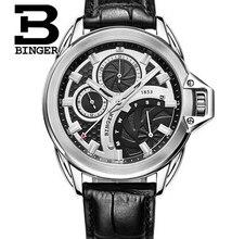 2017 New brand Binger clock male Business Real leather black vintage watch quartz men wristwatches couro relogio masculino