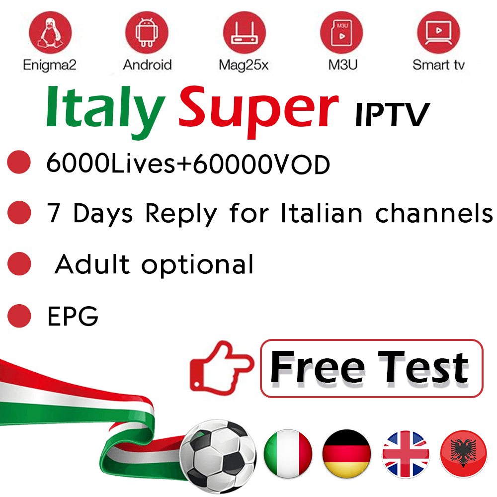 Assinatura IPTV para a Itália Alemanha REINO UNIDO itália Italia Serie A Albânia Europa Adultos Ao Vivo M3u Enigma2 Inteligente CAIXA de TV Android VLC