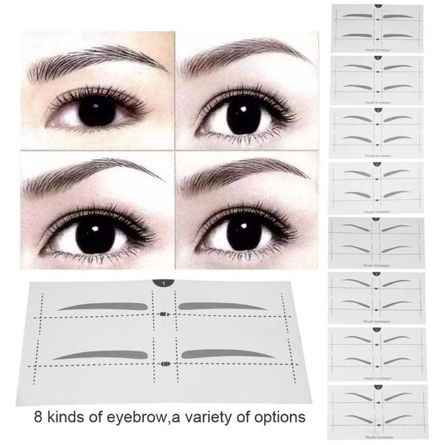 1Box 8 Kinds Eyebrow Stencil Stickers Models Eyebrow Shaper Template ...