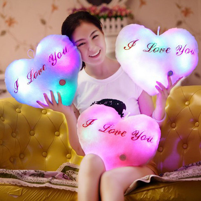 Creative Luminous Love Pillow Cushion Colorful Glowing Pillow Plush Doll Led Light Toys Gift For Girl Kids Christmas Birthday image