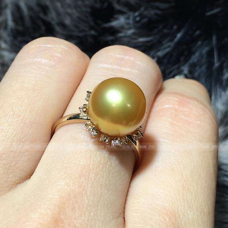 Mariage femmes cadeau mot 925 argent Sterling réel l'importation de Nanyang Kim eau de mer perle anneau carat poire ronde à la lumière