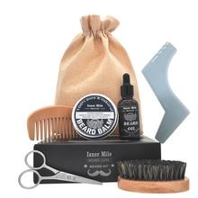 ISNER MILE 5pcs/set Beard Grooming kit Beard Oil  Wax Smooth styling Blam Comb Moustache Brush Scissors Beard Care kit