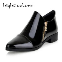 British Style Thick Heel Japanned Leather Fashion Pointed Toe Color Block Decoration Casual Oxfords Shoes For