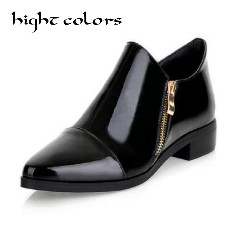 New Luxury Retro Style Fashion Pointed Toe Wine Red Black Block Oxford Flat Shoes Low Heel