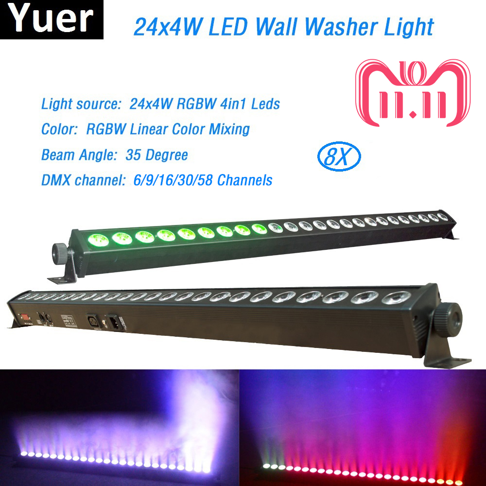 Free Shipping 8Pcs/Lot 24x4W High Quality Led Wall Washer Light RGBW Led Bar Light DMX Indoor LED Flood Down Lighting DJ Disco free shipping 2pcs lot good effect rgb 3in1 24 3w led wall washer dmx bar light for stage disco led flood light running horse