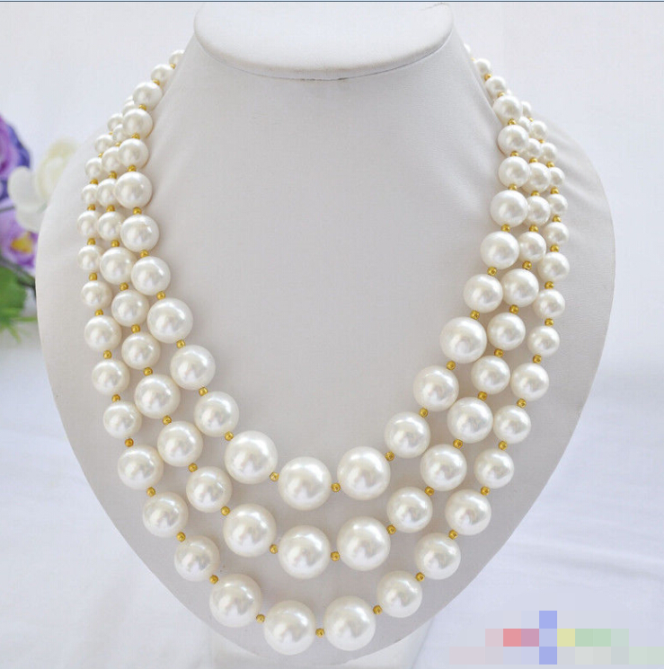 Charming 3row 20 16mm white round SOUTH SEA SHELL PEARL TOWER NECKLACECharming 3row 20 16mm white round SOUTH SEA SHELL PEARL TOWER NECKLACE