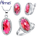 Almei Silver Bijoux Rouge 2016 CZ Fashion Big Purple Amethyst Garnet Red Oval Crystal Wedding Engagement Party For Women T082