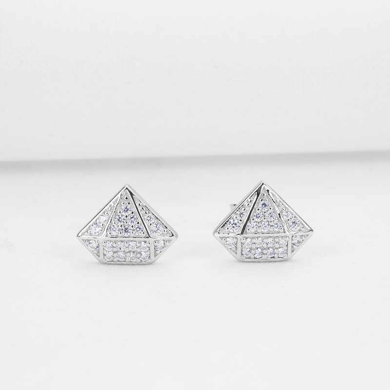 AINUOSHI 925 Sterling Silver Bông Tai Bạc Phụ Nữ Spike Bạc Stud Bông Tai Cưới Hình Học Món Quà pendientes plata de ley 925 mujer